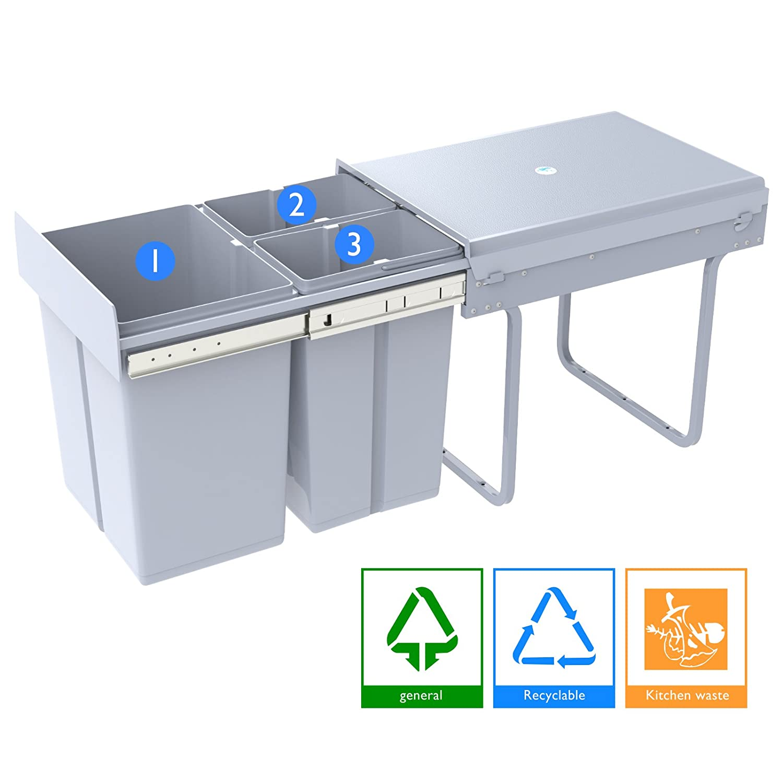 1home Basura del Aparador de la Cocina de Reciclar la Extracción (40 litros)