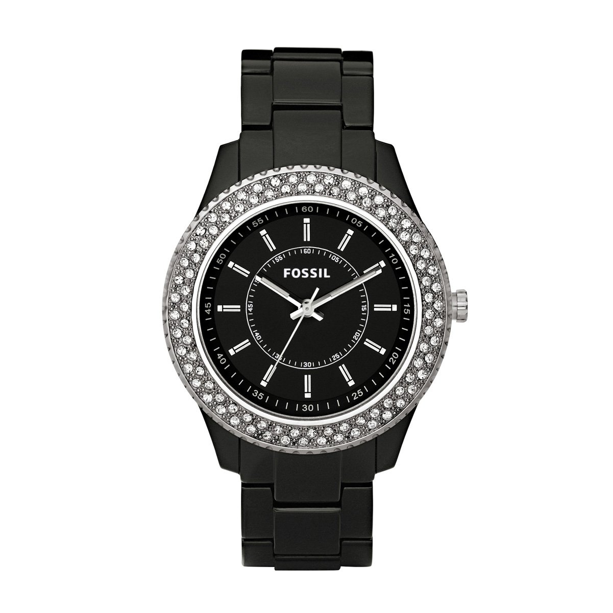 Amazon.com: Fossil Womens ES2445 Black Resin Bracelet Black Glitz Analog Dial Watch: Fossil: Watches