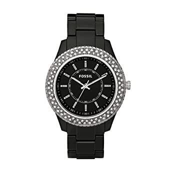 Fossil Womens Quartz Stainless Steel and Resin Dress Watch, Color:Black (Model: