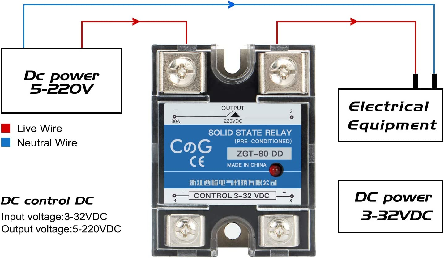 Solid State Relay SSR-40 DD 40A 5-220VDC Module Contactor For Automation Process