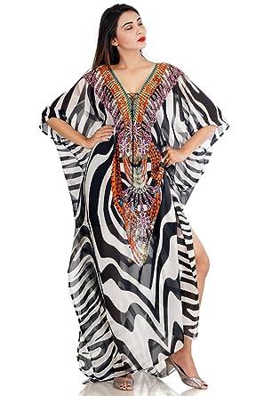 b2ed2a34a Lace Up Animal Print Full Length Long Dress Woman Kaftans Beach Cover up  Caftan 179