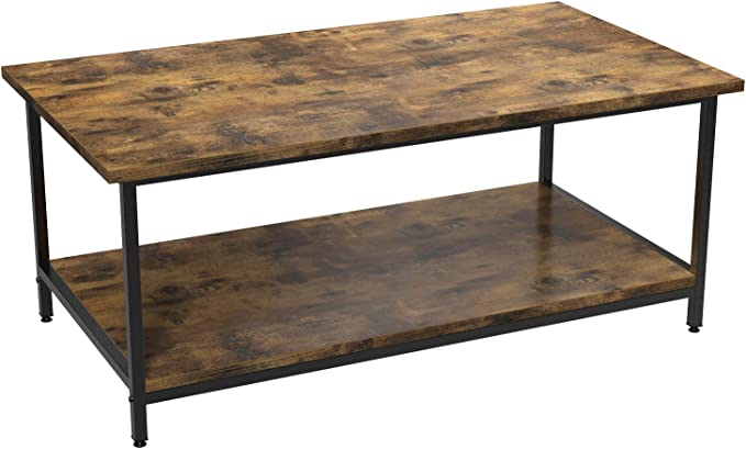 Tea Table with Storage Shelf, Wood Look Accent Furniture