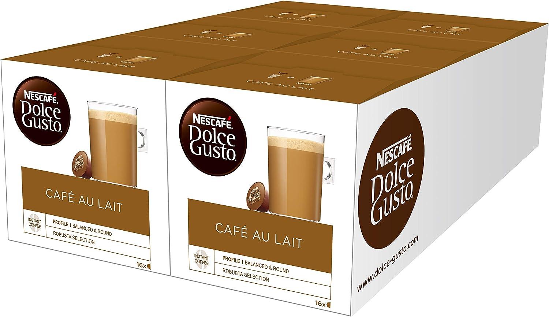 Nescafé Dolce Gusto - Café con leche, pack de 6, 6 x 16 cápsulas ...