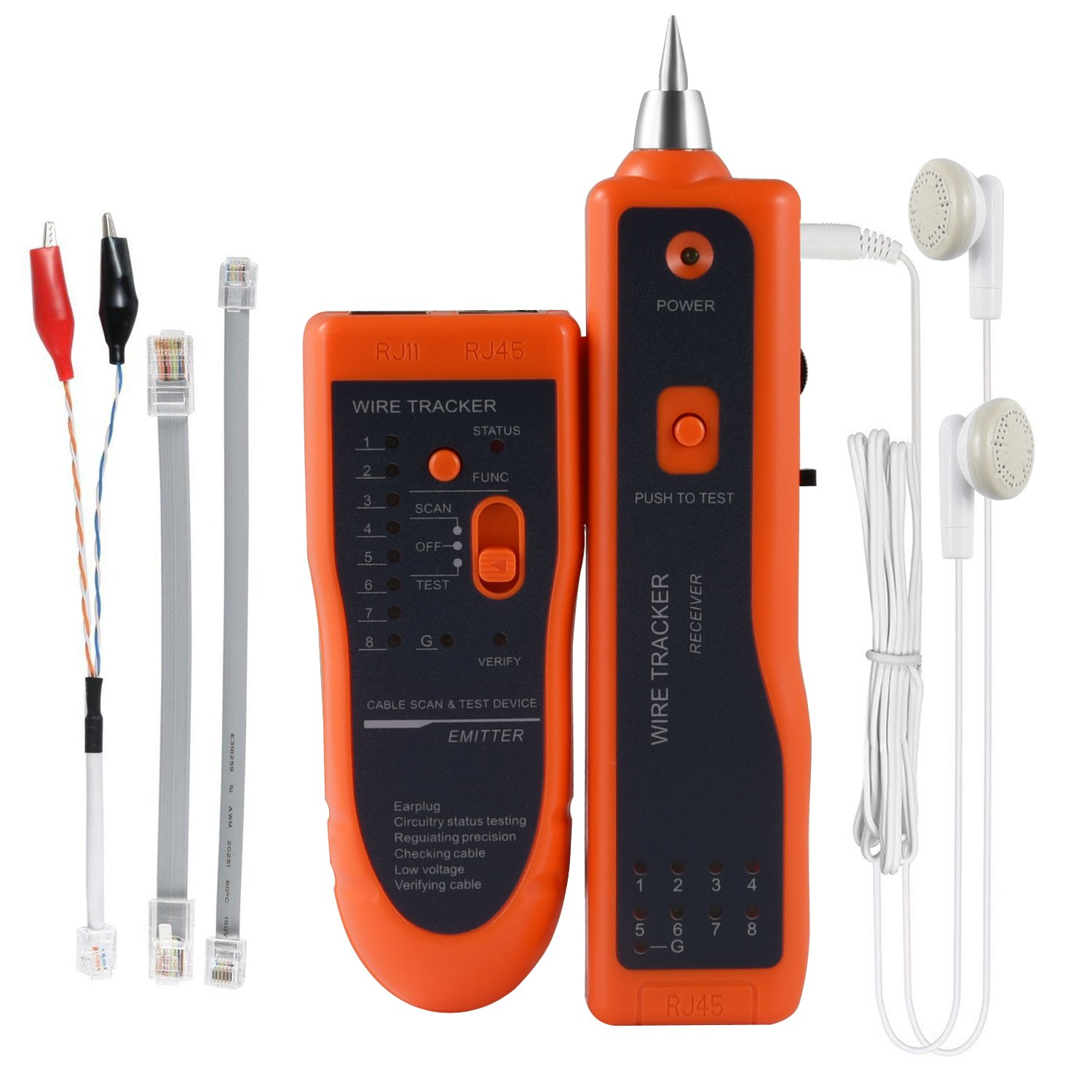 Ethernet Network Cable Tester Kit RJ11 RJ45 CAT5/5e CAT6 LAN Wire Tracker Portable Line Finder for Miss Wiring Disorder Cable Open and Short Circuit Testing,Earphone Included, Toolkit(Orange)