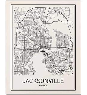 Jacksonville Florida Zip Code Map.Amazon Com Jacksonville Fl Zip Code Map Laminated Home Kitchen