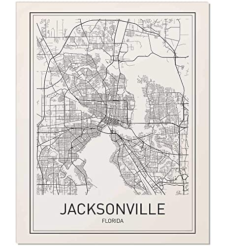 Amazon Com Jacksonville Poster Jacksonville Map City Map Posters