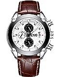 CIVO Relojes de Pulsera Hombres Cronógrafo Calendario Impermeable Moda Cool Reloj para Hombres Adolescente Chicos Lujo Clásico Casuales Reloj de Cuero Grandes de Pulsera Negro Marrón