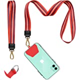 Phone Lanyard, COCASES Phone Lanyard and Wrist Lanyard Set Neck Straps for ID Badge, Compatible with all mobile phones (Red)