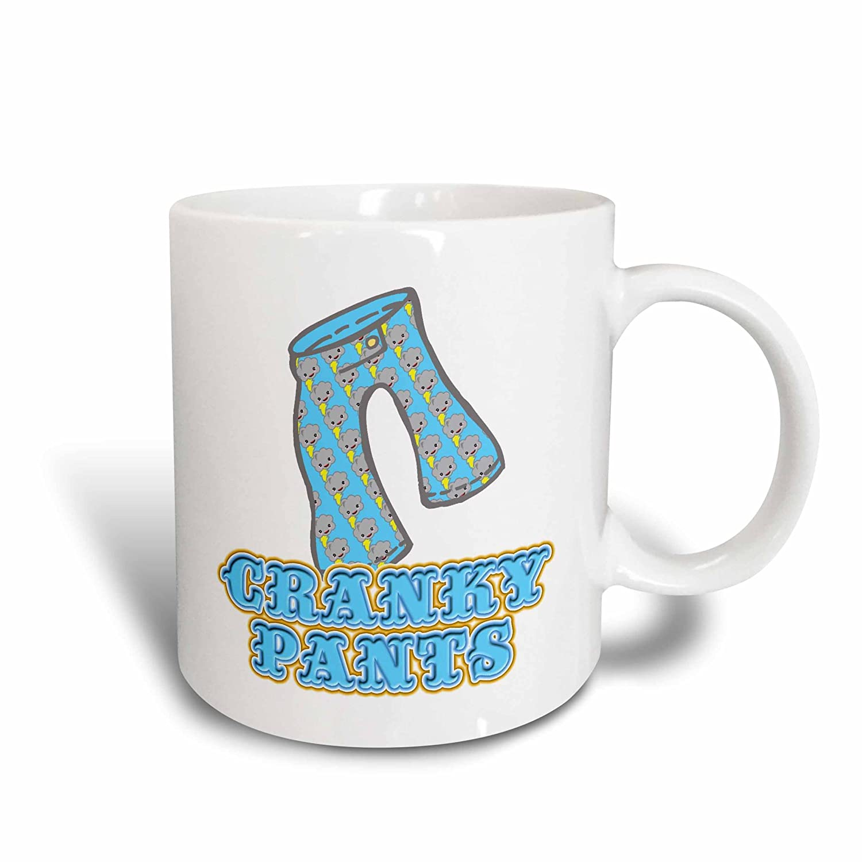 3dRose 102602/_1 Funny Cranky Storm Cloud Pants Graphic Ceramic Mug 11 oz White