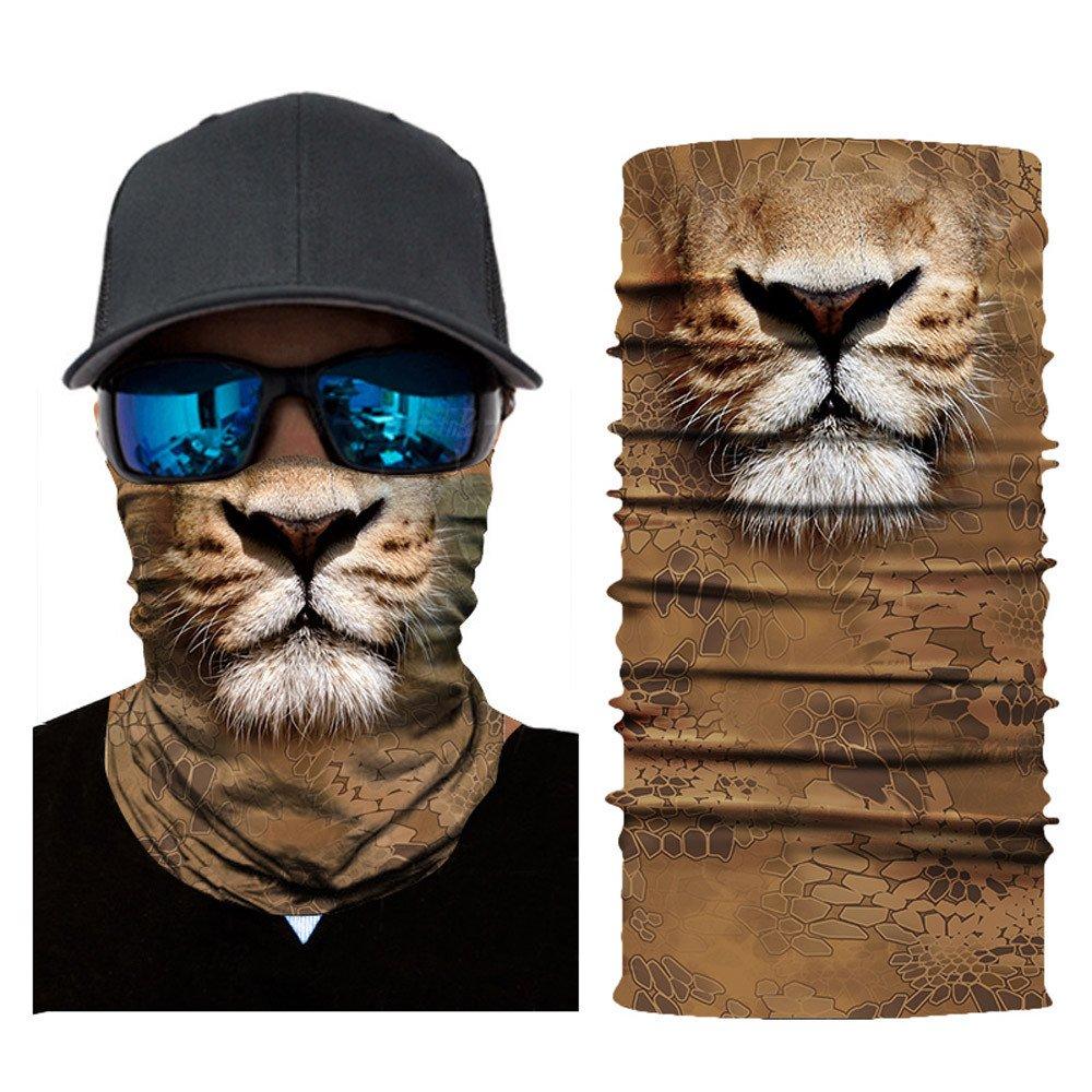 Glumes Face Mask Half Sun Dust Protection Vivid 3D Animal Tube Mask Seamless Durable Face Mask Bandana Skeleton Face Shield Motorcycle Fishing Hunting Cycling Halloween Party (F)