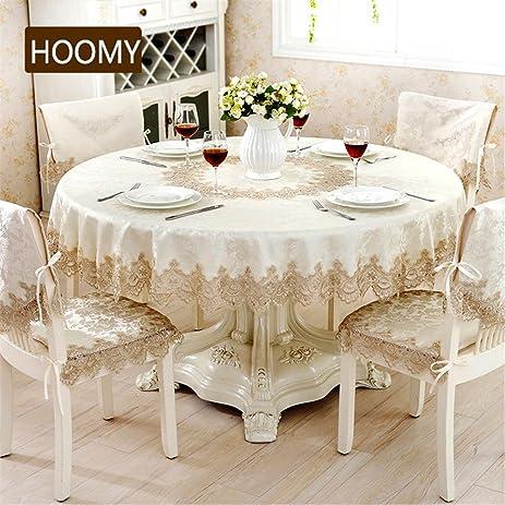 Hoomy Modern Round Tablecloth Sandy Beige Jacquard Table Cloth For Dinning  Table Durable Roamntic Table Overlays