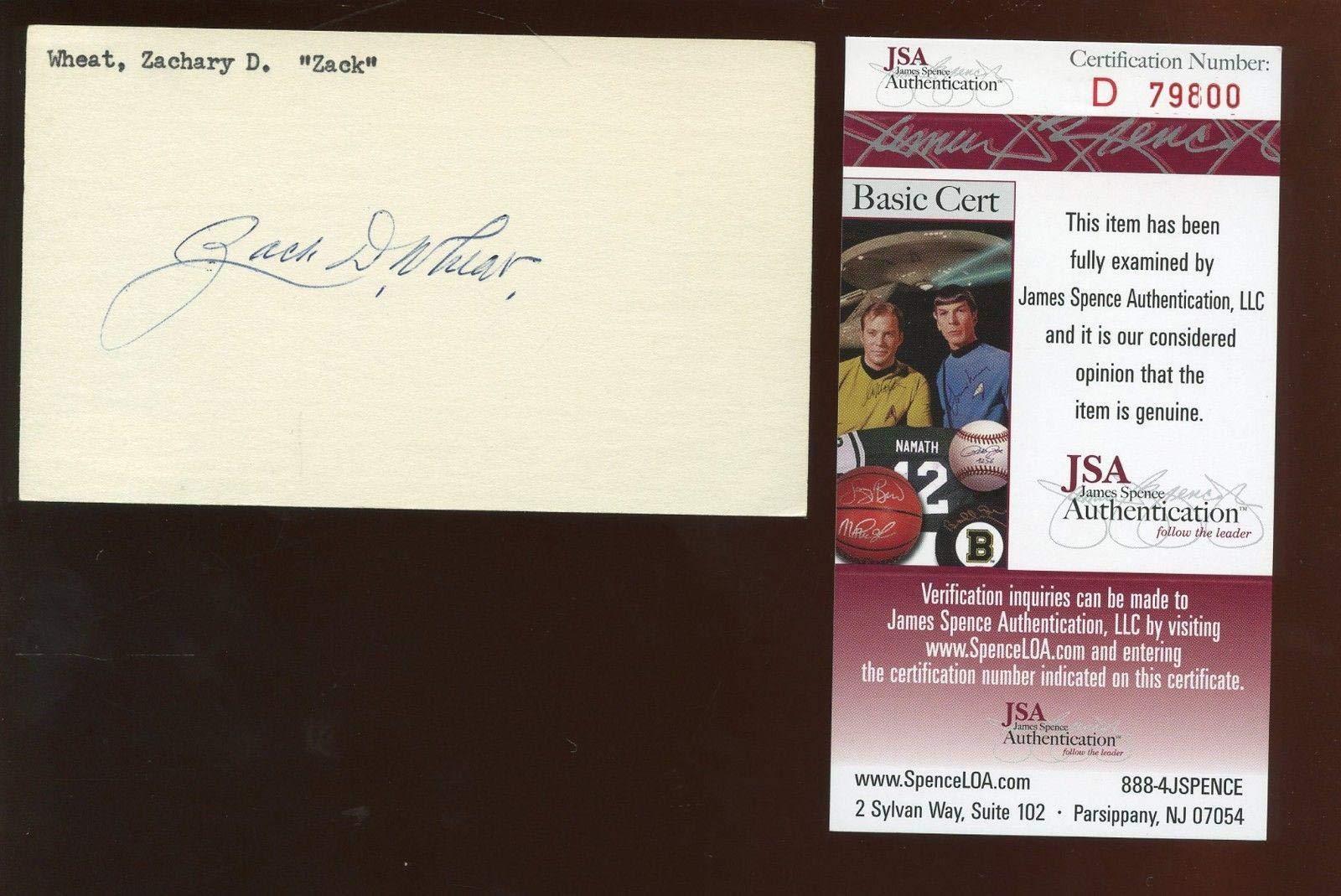 Zack Wheat T206 Player Autographed Index Card JSA Cert MLB Cut Signatures