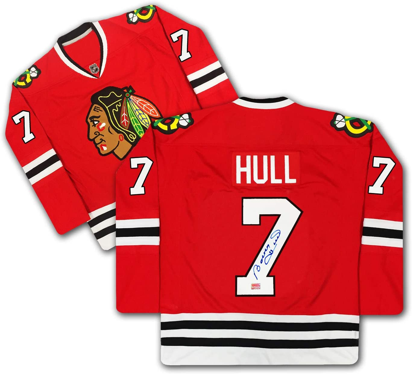 Bobby Hull Number 7 Signed Red Chicago Blackhawks Jersey at ...