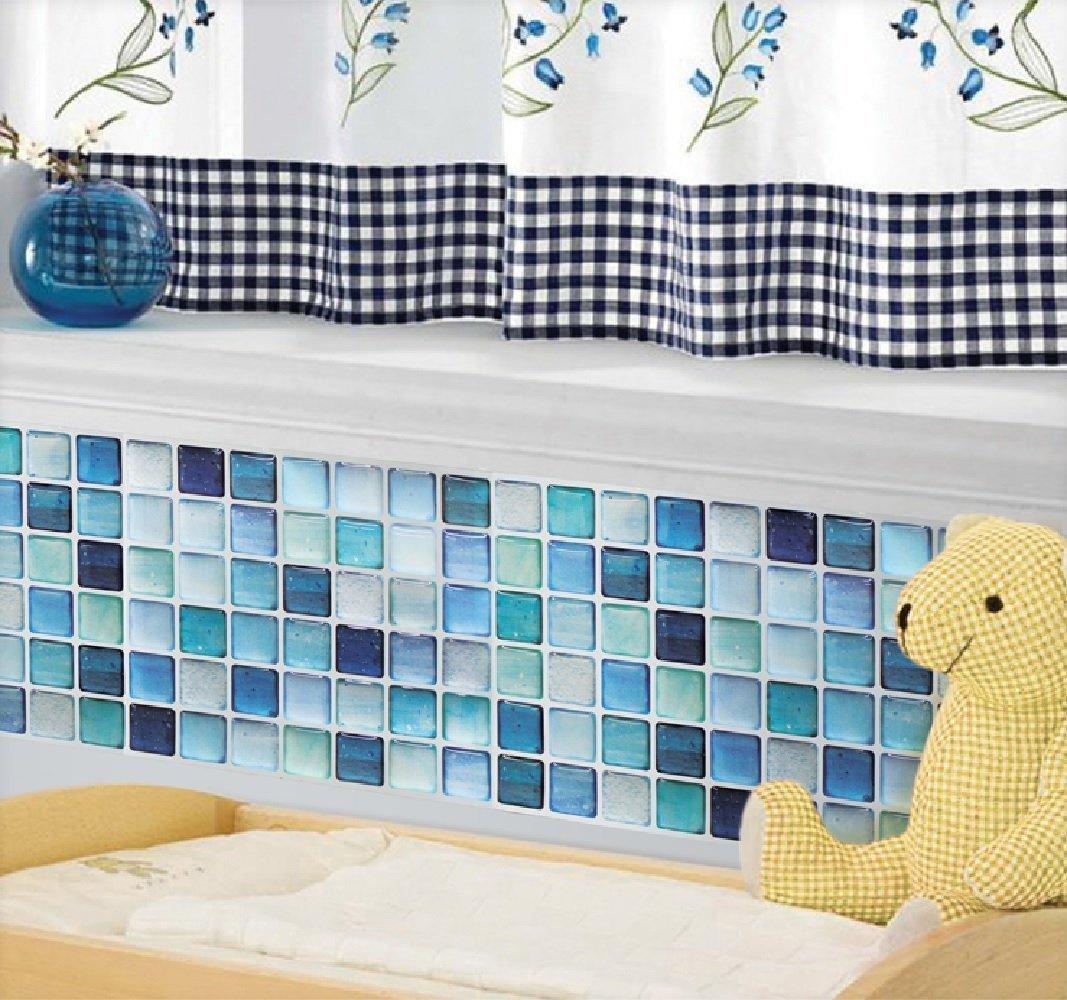 Amazon.com: Beaustile Mosaic 3D Wall Sticker Home Decor N-Blue Fire ...