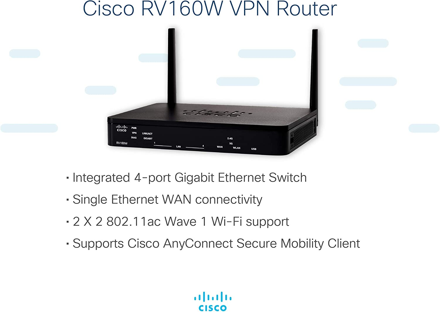 Cisco RV260W VPN Router with 8 Gigabit Ethernet Limited Lifetime Protection GbE Ports Plus Wireless-AC VPN Firewall RV260W-A-K9-NA