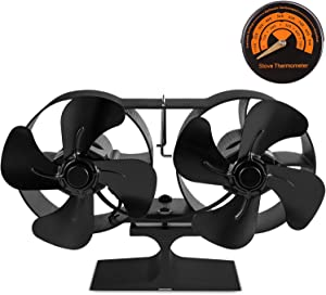 PYBBO Double Motors Wood Stove 8 - Blade Small Size Fan, Silent Heat Warm Air Powered Fireplace Eco Stove Fan for Gas/Pellet/Wood/Log Burning Stoves with Thermometer