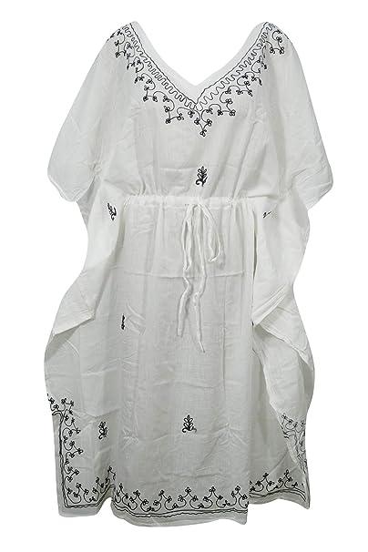 f2bb79316501 Image Unavailable. Image not available for. Color: Womens White Kaftan  Dress Cotton Gauze Drawstring Boho Maxi Caftan L