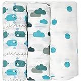 Emma & Noah Mullwindeln, extra weich und saugfähig, 3er Pack, 100% Baumwolle, 80x80 cm, doppelt gewebt, verschiedene Sets, Spucktücher, Baby Tuch, Mulltücher, Stoffwindeln, Molton-Tücher