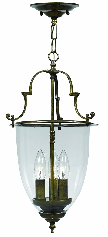 973-AU Camden 3LT Convertible Fixture, Autumn Brass Finish and Clear Glass Shade