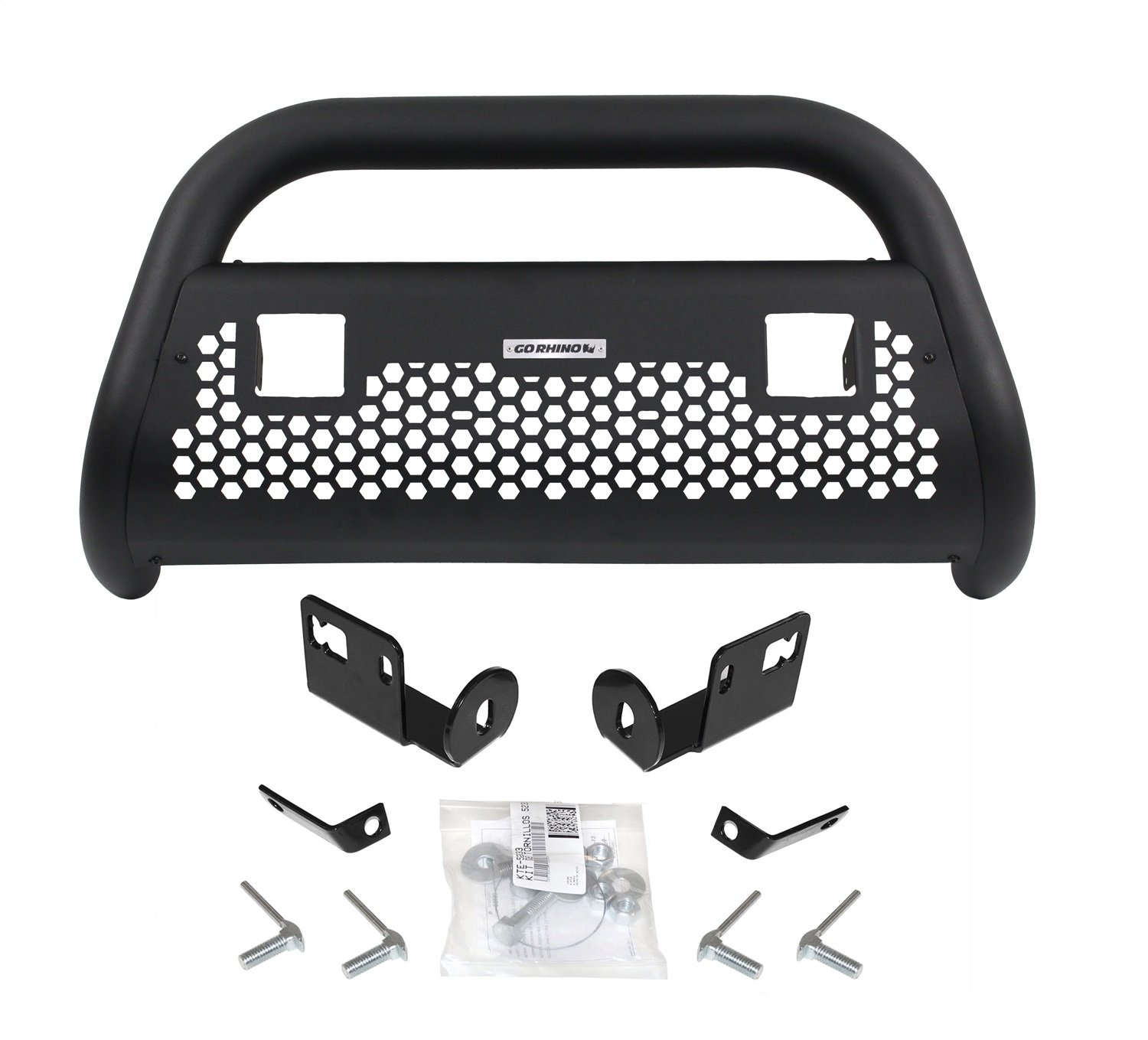 Go Rhino 55532T RC2 LR Textured Black Front Guard for Toyota (Complete Kit: Front Guard+Brackets, RHINO! Charger 2)
