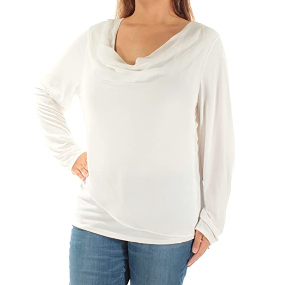 1230ca303ce749 Calvin Klein Womens White Wrap Front Long Sleeve Cowl Neck Top Size  XS   Amazon.co.uk  Clothing