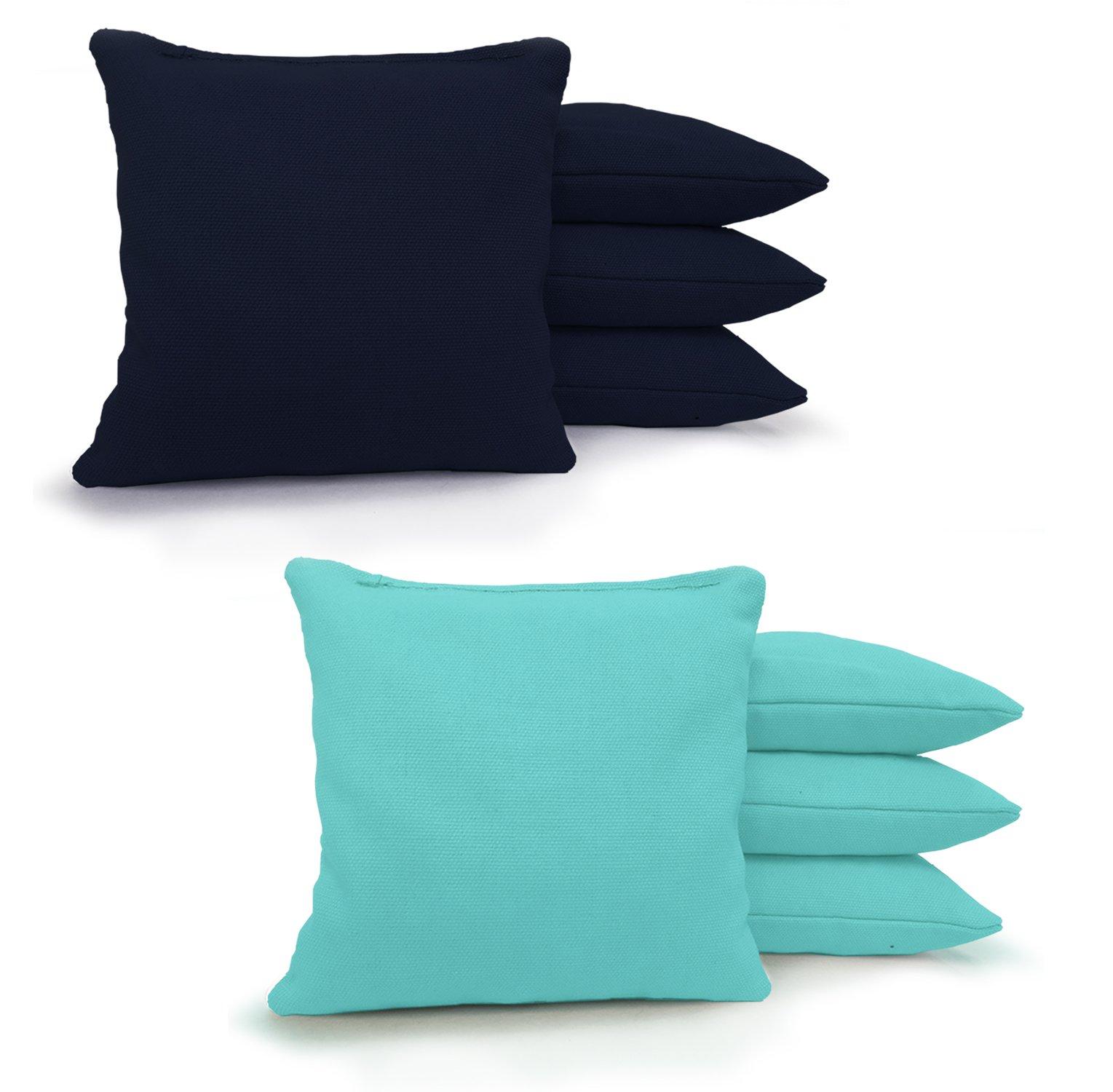 Johnson Enterprises, LLC 8 Standard Corn Filled Regulation 6''x6'' Duck Cloth Cornhole Bags! (Navy/Light Blue) by Johnson Enterprises, LLC