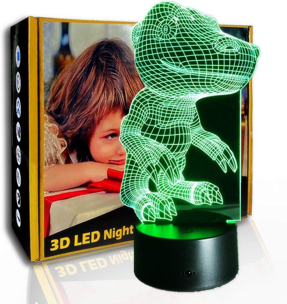 JINYI Cocodrilo de dibujos animados de luz nocturna 3D, lámpara de LED de ilusión óptica para niños, F- Base de audio Bluetooth (5 colores), Lámpara visual, Regalo de Navidad