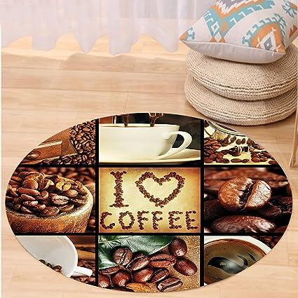 kisscase Custom carpetbrown I Love café tema collage tostado Granos de café máquinas y tazas Aromatic