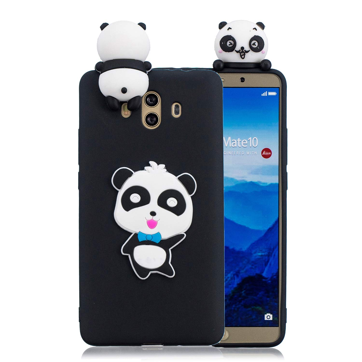 for Huawei Mate 10 Silicone Case with Screen Protector,QFFUN 3D Cartoon [Panda] Pattern Design Soft Flexible Slim Fit Gel Rubber Cover,Shockproof ...
