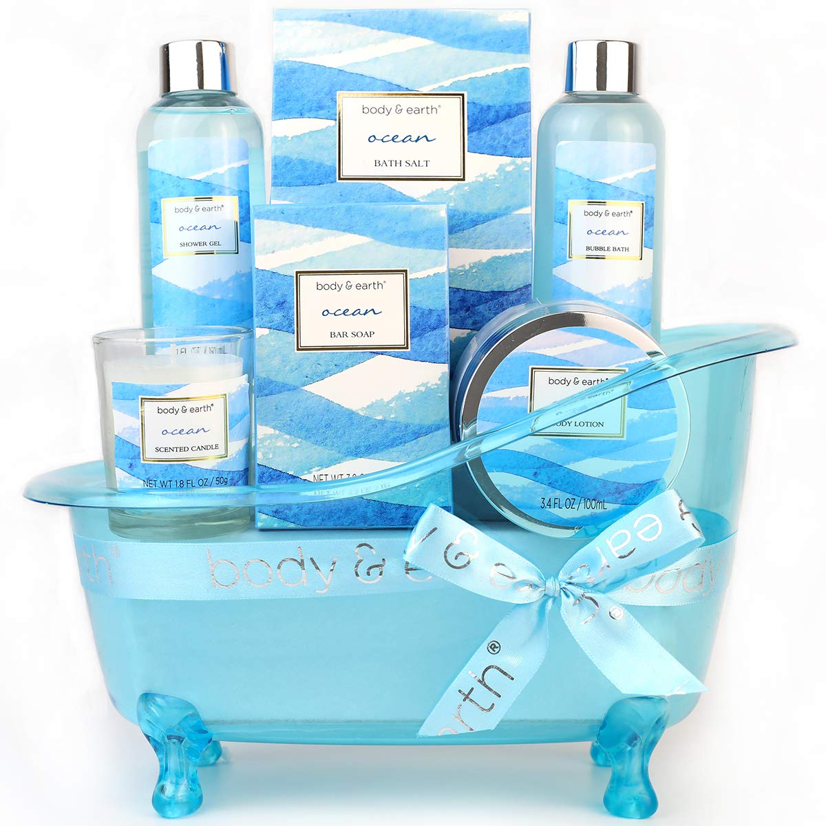 Bath Gift Set for Women, Body & Earth Home Spa Kit Scented with Ocean, Bath and Body Gift Basket Set, Spa Gifts for Women, 7 Pcs Bath Set, Best Gift Ideal for Her : Beauty
