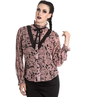HELL BUNNY PEEPERS EYEBALL alternative CHIFFON goth BLOUSE TOP XS-4XL