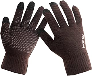 Kotzeb Unisex Guanti Caldo Vello Inverno Touch Screen Antiskid Lana Maglia Gloves Dita Piene Nero Caffè Nero&Bianco Coffee&White Grigio Rosa Taglia Unica