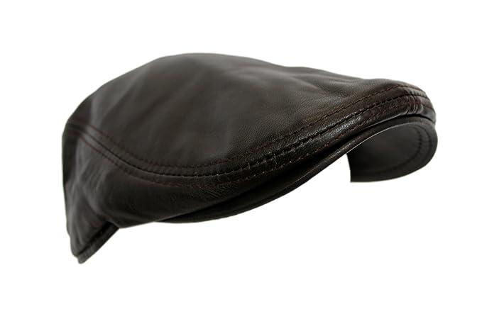 e0fdf043178 Men Leather Ivy Cap Dark Brown Lambskin Bunnet Newsboy Beret Cabbie Gatsby  Flat Golf Hat timeless ...