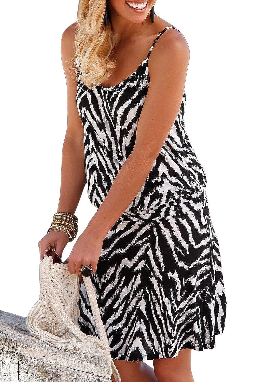 Black642 sidefeel Women Cute White Stripe 3 4 Sleeve Babydoll Dress