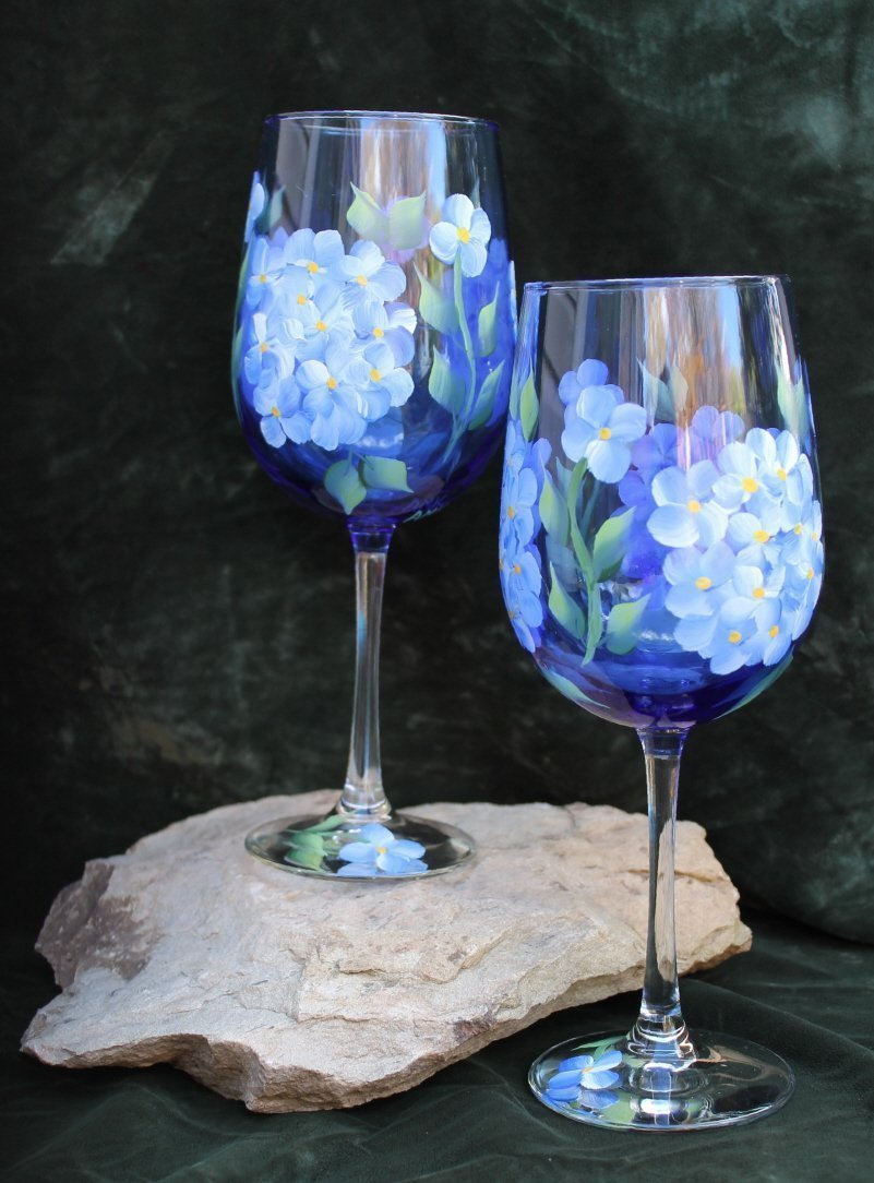 Hand Painted Wine Glasses - Blue Hydrangea on Cobalt Blue glass (Set of 2)