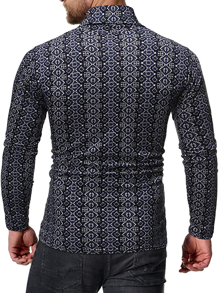 LUCAMORE Mens Knitting Sweaters Pullover with Roll Neckline Sweatshirt Warm Basic Shirts Slim Knitwear Tops Blouse