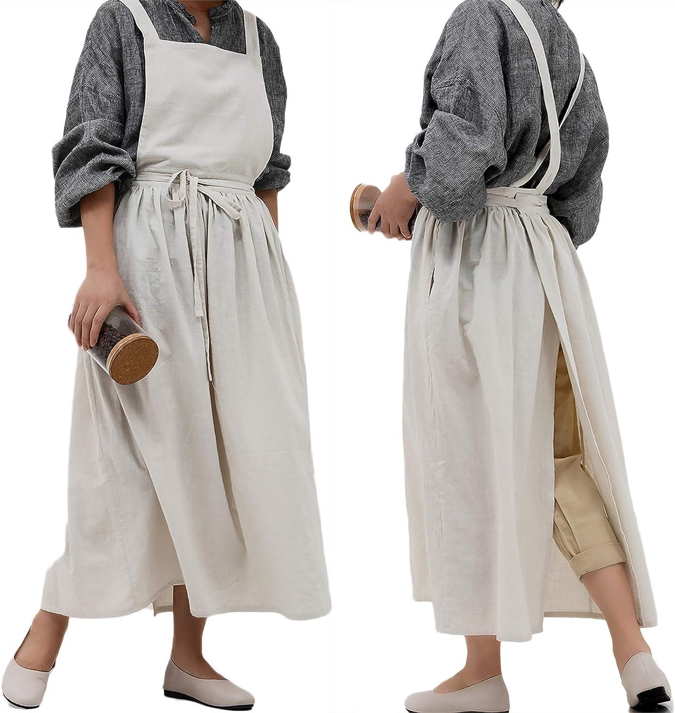 losofar Pleated Cotton Long Apron X Back Kitchen Garden Florist Work Clothes Bib Dress (Beige, 38.5x34.6in)