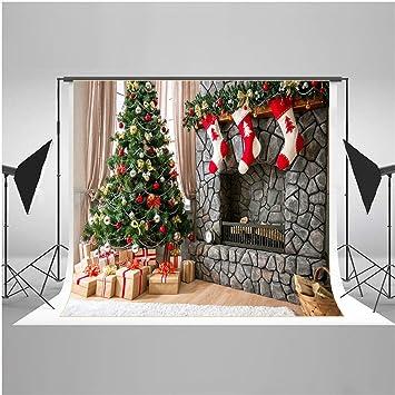 Fondo de fotografía de Navidad/árbol de Navidad para niños Fondo de accesorios/calcetines Fondo de foto de suspensión de pared: Amazon.es: Electrónica