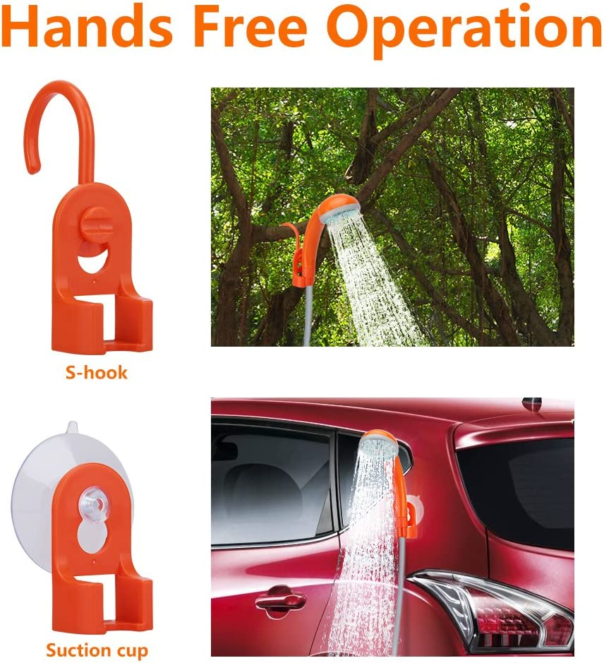 Handheld Outdoor Shower Head for Camping Camping Shower Pump with Dual Detachable USB Rechargeable Batteries KEDSUM Portable Camping Shower Traveling Hiking