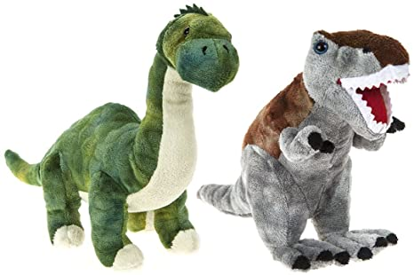 "DINOSAUR ANIMAL PLANET - Set of 2 Plush toys ""Brontosaurus"" and """