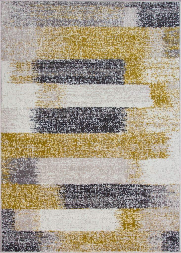 Milan Mottled Faded Distressed Ikat Stripe Design Ochre Yellow Mustard Grey Beige Cream Rug