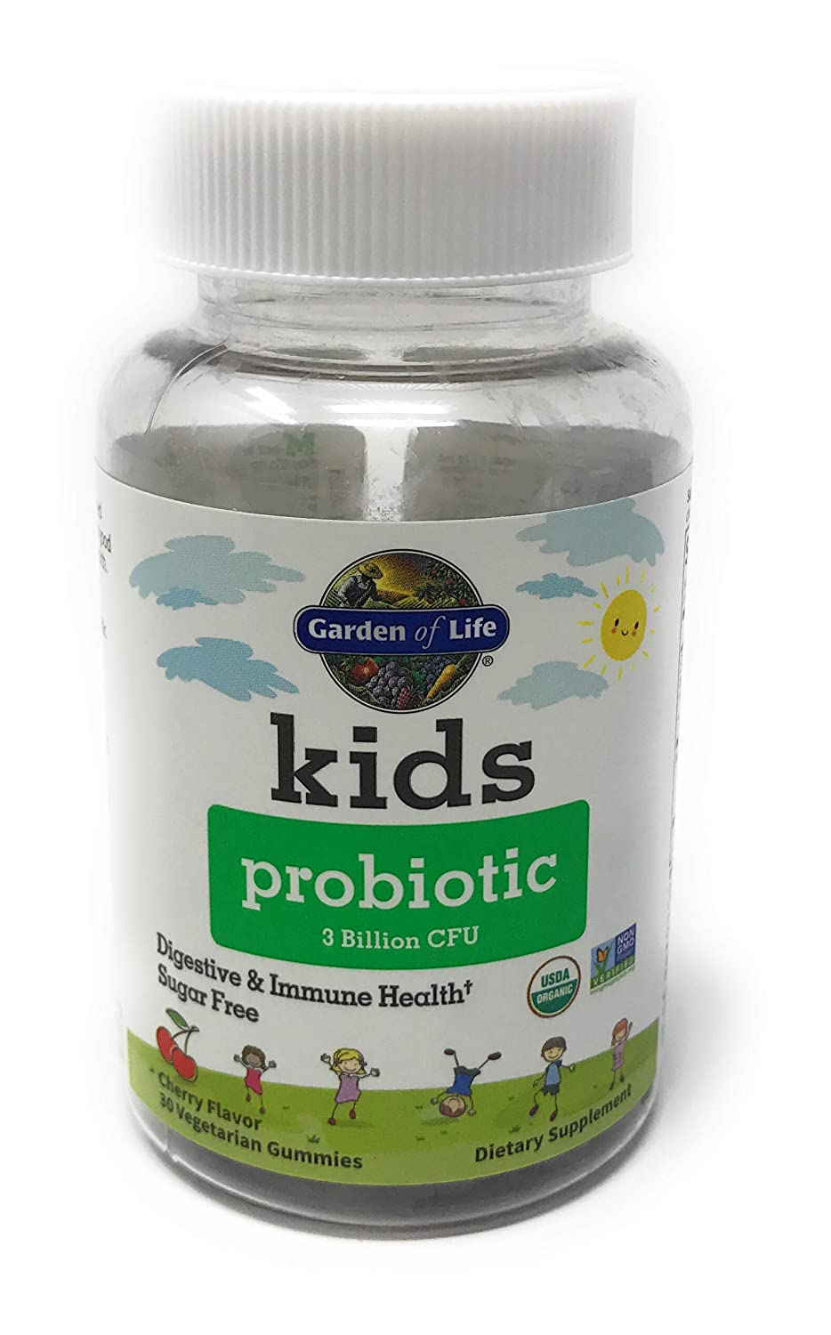 Garden of Life Kids Probiotic 3 Billion CFU, Cherry Flavor Gummies - Sugar Free Once Daily Probiotics for Kids, Probiotics Plus Fiber for Children's Digestive & Immune Health, 30 Vegetarian Gummies