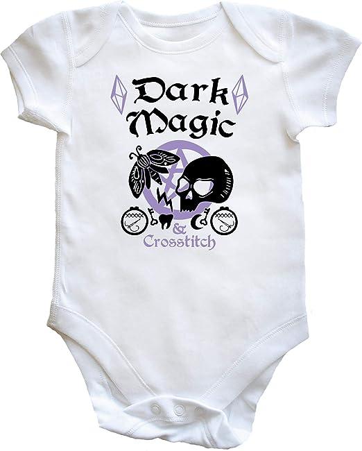 HippoWarehouse Dark Magic & Cross Stitch Witch Pastel Goth Chaleco para bebés Pijama de Manga Corta