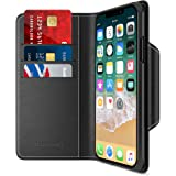 Maxboost iPhone X Wallet Case [Folio Style] [Stand Feature] mWallet Series for Apple iPhone X (2017) [Black] Protective Credit Card Leather Flip Cover [Card Slot + Side Pocket] Magnetic Closure