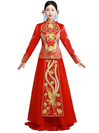 Amazon Com Gold Embroideries Show Wo Dress Chinese Wedding Dress
