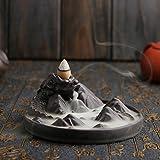 Jeteven Dragon Ceramic Incense Burner Backflow Incense Burner Holder + 10pcs Incense Cones Stick Holder for Home Office Decor 4.8''x4.8''x2.05''