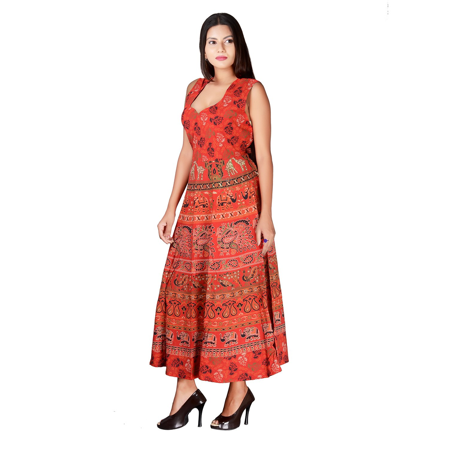 fabcolors Casual Wear Maxi Dress for Women - Floral Print Long Maxi Dress  -Orange  Amazon.in  Clothing   Accessories ef8e61387