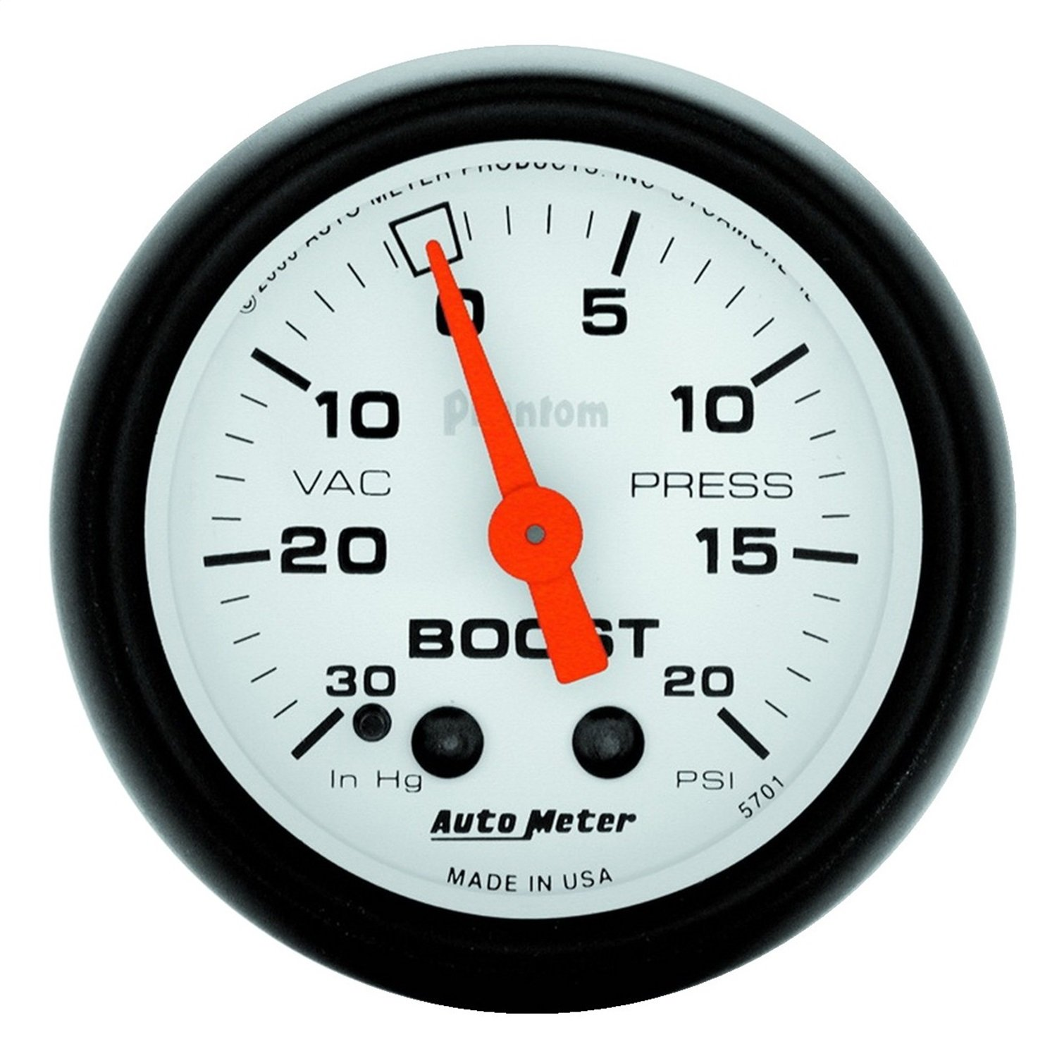 Auto Meter 5701 Phantom Mechanical Boost/Vacuum Gauge by AUTO METER