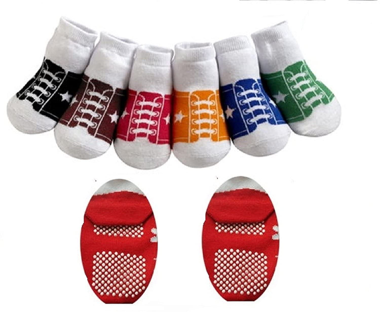CUTE 6 PACK OF BABY BOYS GIRLS BASEBALL TRAINER STYLE ANTI SLIP GRIPS SOCKS AGE 6-12 MONTHS