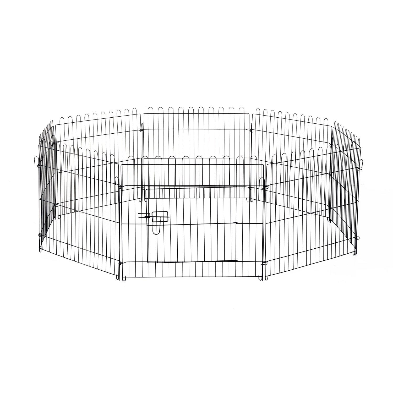 Parc enclos pour chiens chiots animaux domestiques diamètre 158cm 8 panneaux 71L x 61Hcm noir neuf 25 PawHut